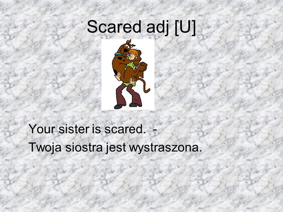 Scared adj [U] Your sister is scared. -